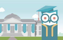 graphic image of college and safewise owl in graduation garb