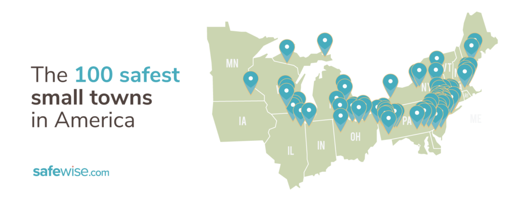 SafeWise Safest Small Towns 2020 map graphic