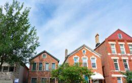 neighborhood of old brick houses