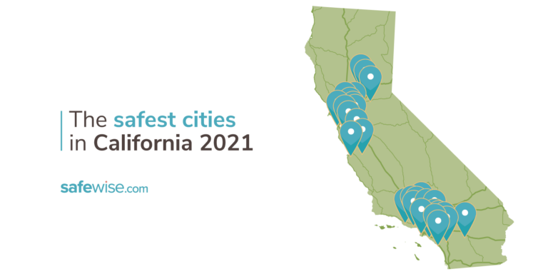 Overview map of California's safest cities