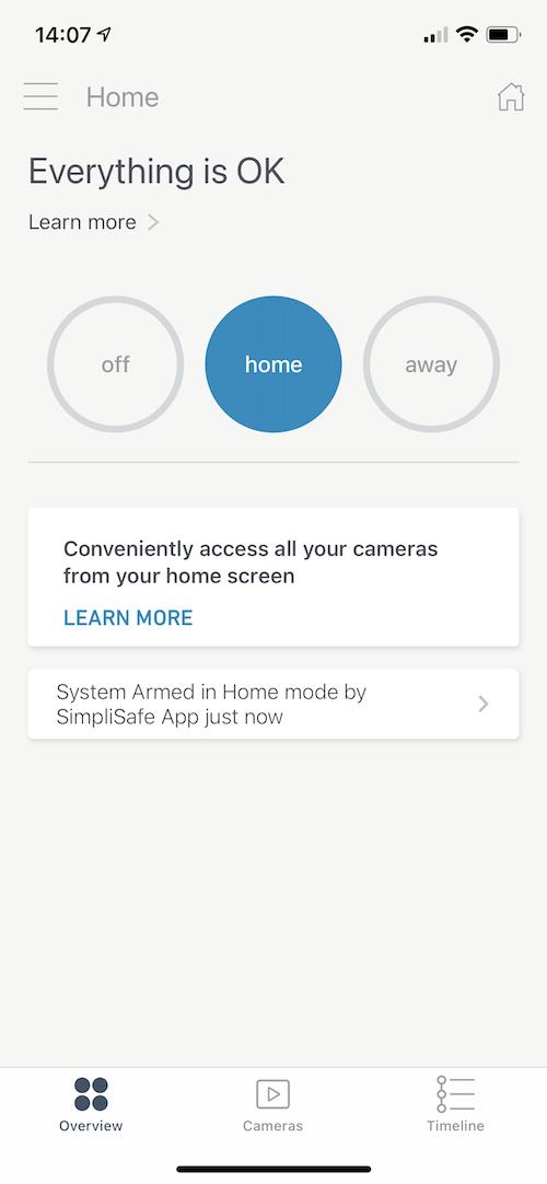 SimpliSafe App Home