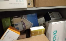Boxes and boxes of home security systems