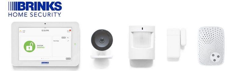 Brinks control panel, camera, motion sensor, door sensor, and zwave siren