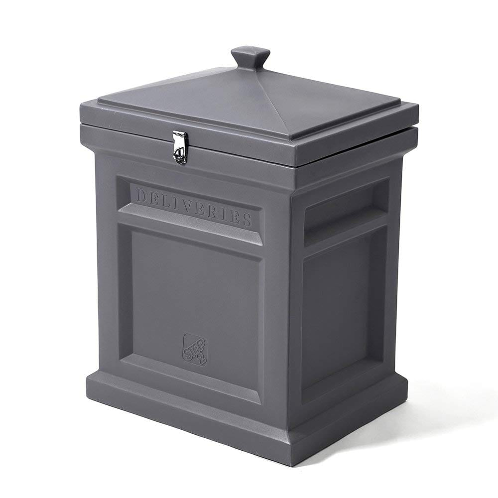 Grey package delivery box with lock