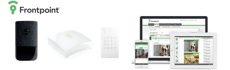 Frontpoint indoor camera, hub, keypad, and mobile app