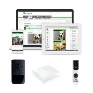Frontpoint mobile, app, camera, hub, and doorbell