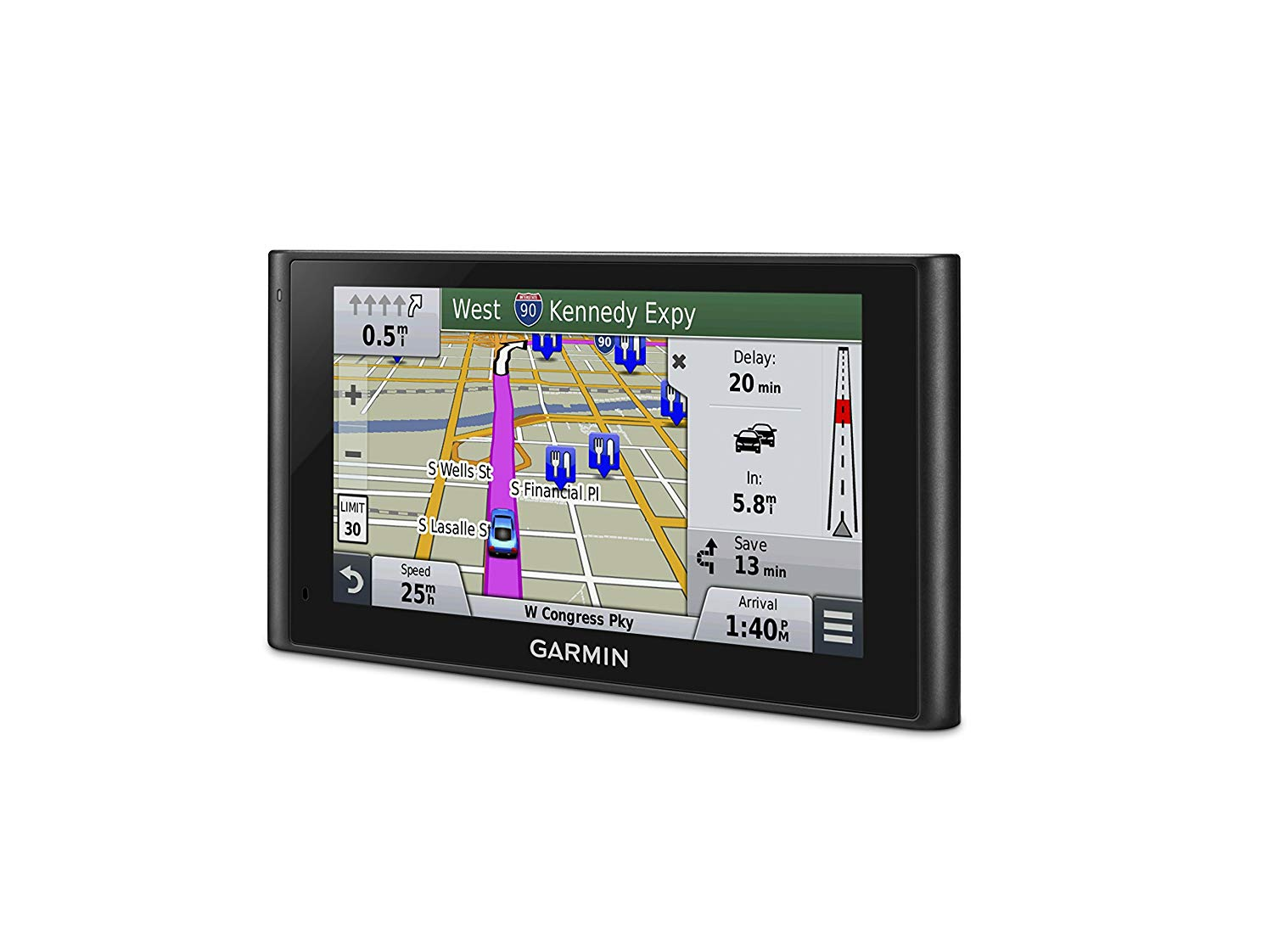 Garmin nav screen with GPS map