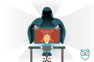 illustration of boy on computer with skull and cross bones