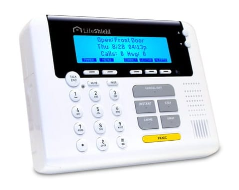 product image of LifeShield Control Panel. large LCD screen with a rubber keypad and shortcut buttons.