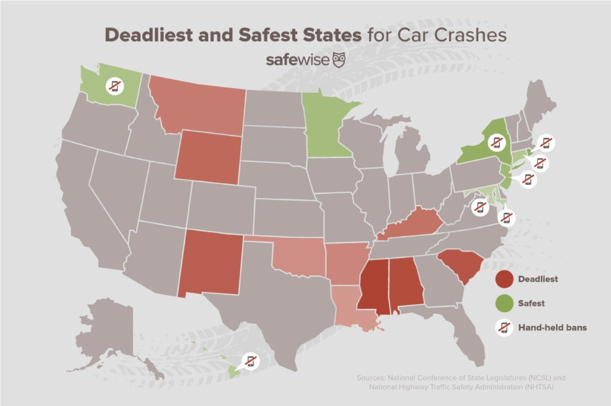map of the deadliest and safest states for car crashes