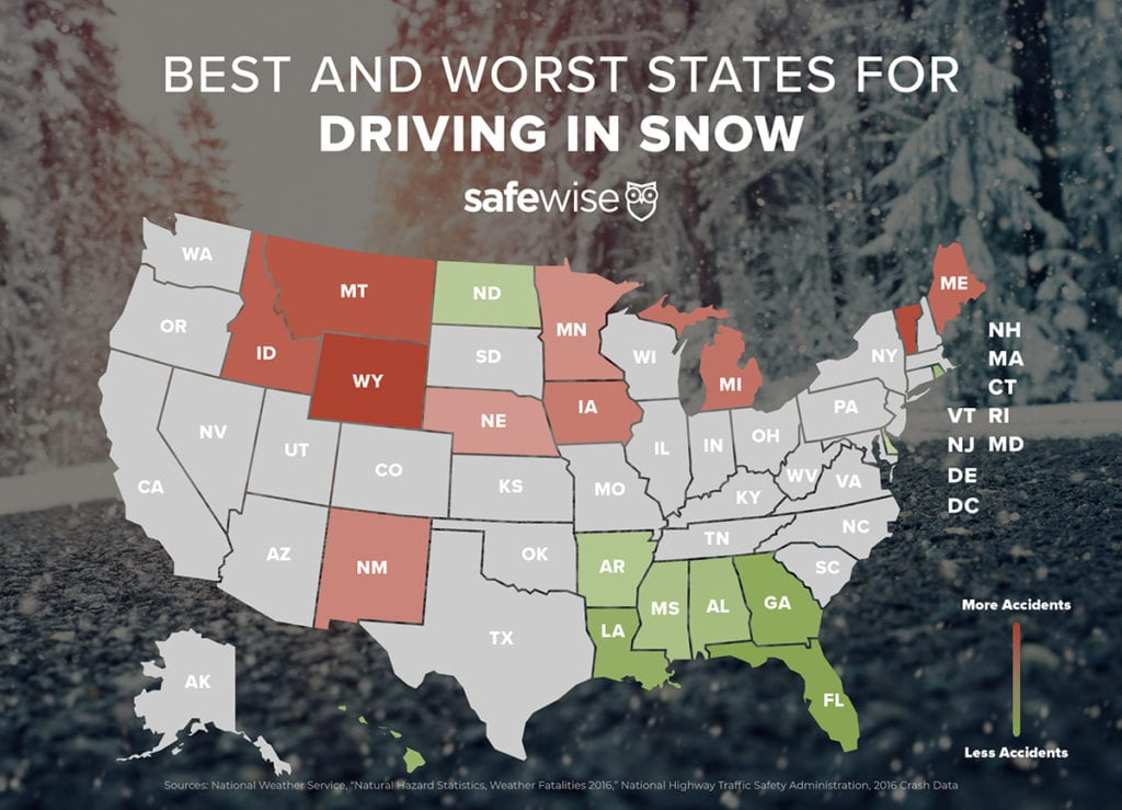 an infographic of the best and worst states for driving in the snow