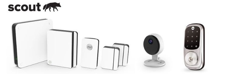 Scout security system with indoor camera and door lock