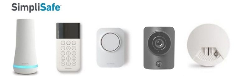 SimpliSafe hub, keypad, alarm, camera, and smoke detector