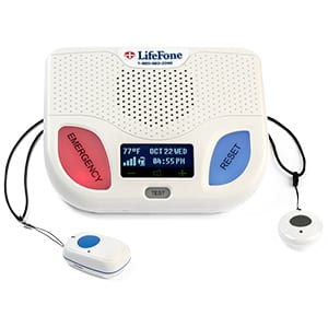 lifefone base station with blue and red buttons, fall alert pendant and help button
