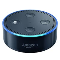 black echo dot with blue light
