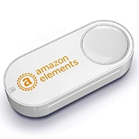 Dash button with orange Amazon Elements logo