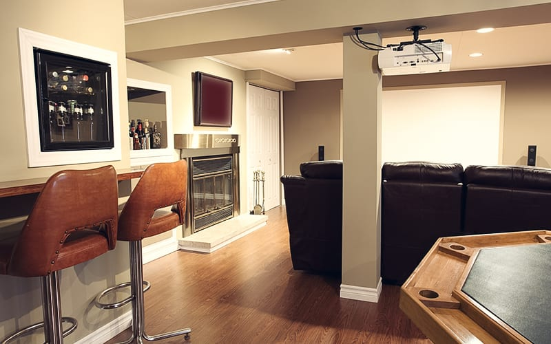 living room in basement