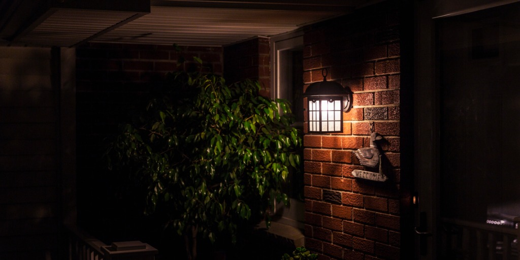porch light on the front of the house at night