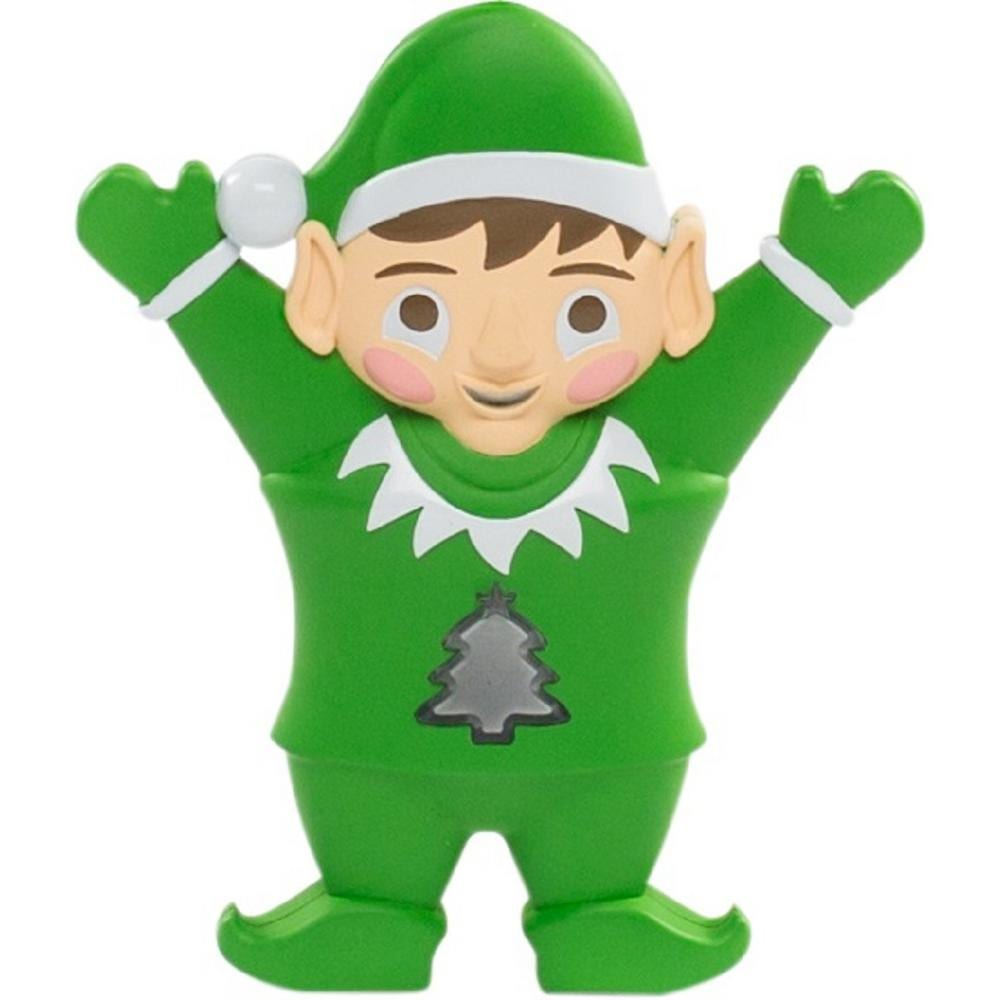 green elf with hands above his heads and a tree on his belly