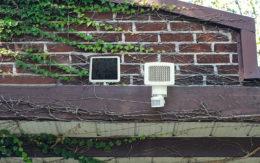 solar powered light on house