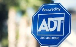 ADT security sign closeup