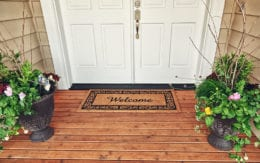 front door with doormat