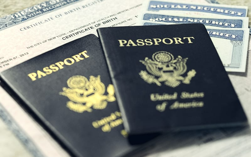 passports, birth certificate, social security cards