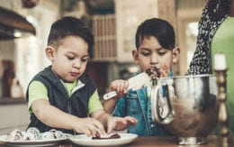 kids baking in kitchen with mom