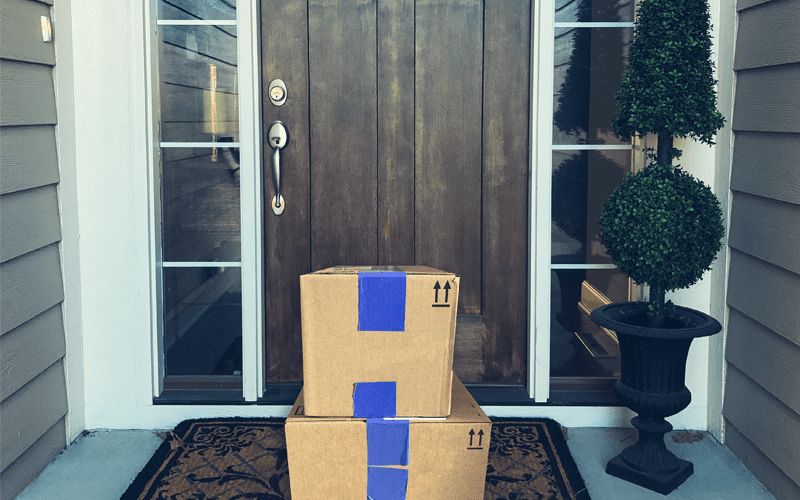 packages on front doorstep