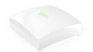 white frontpoint hub with green key logo