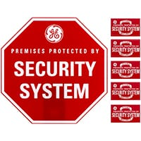 red octagonal security sign and five red stickers
