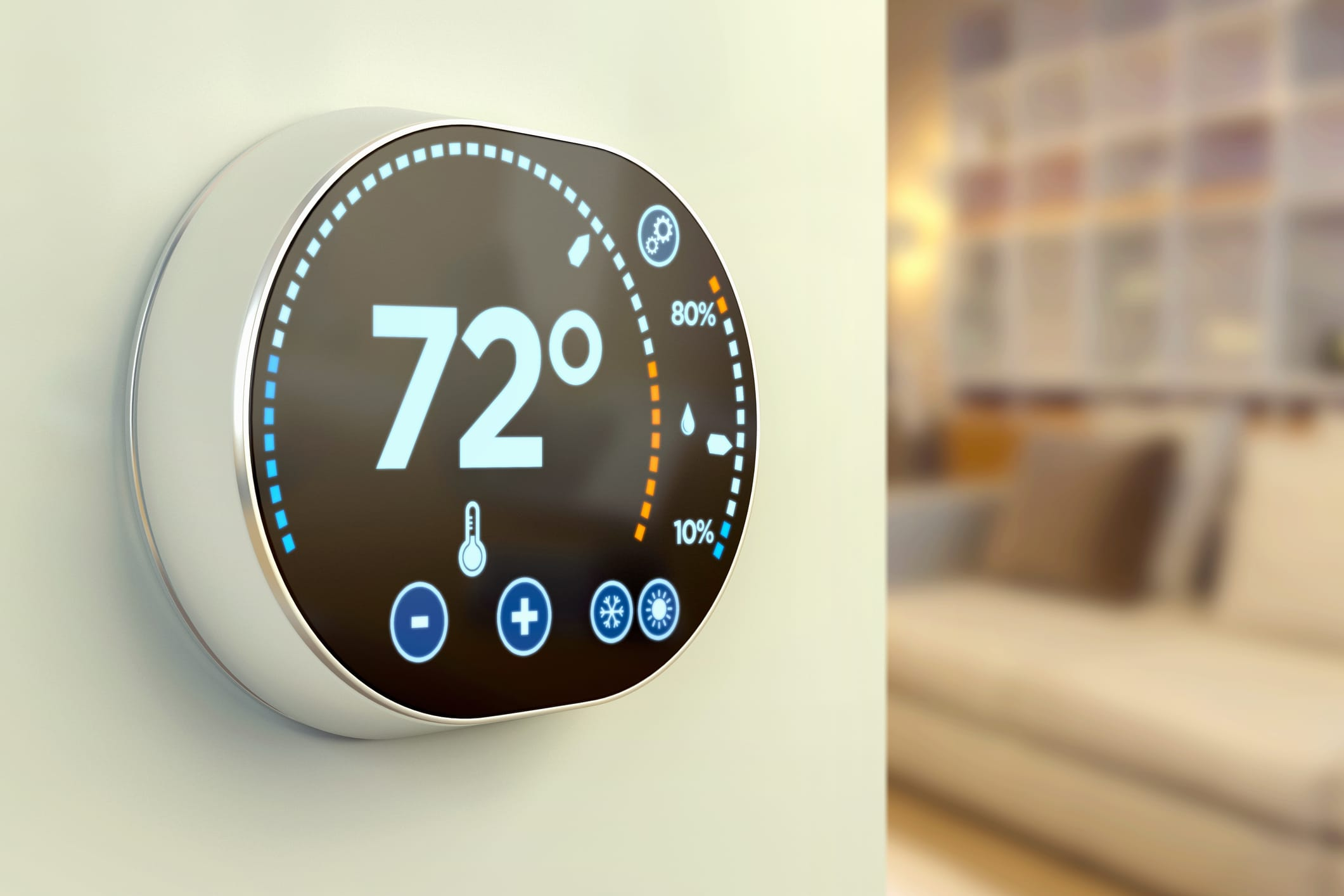 smart thermostat on a wall