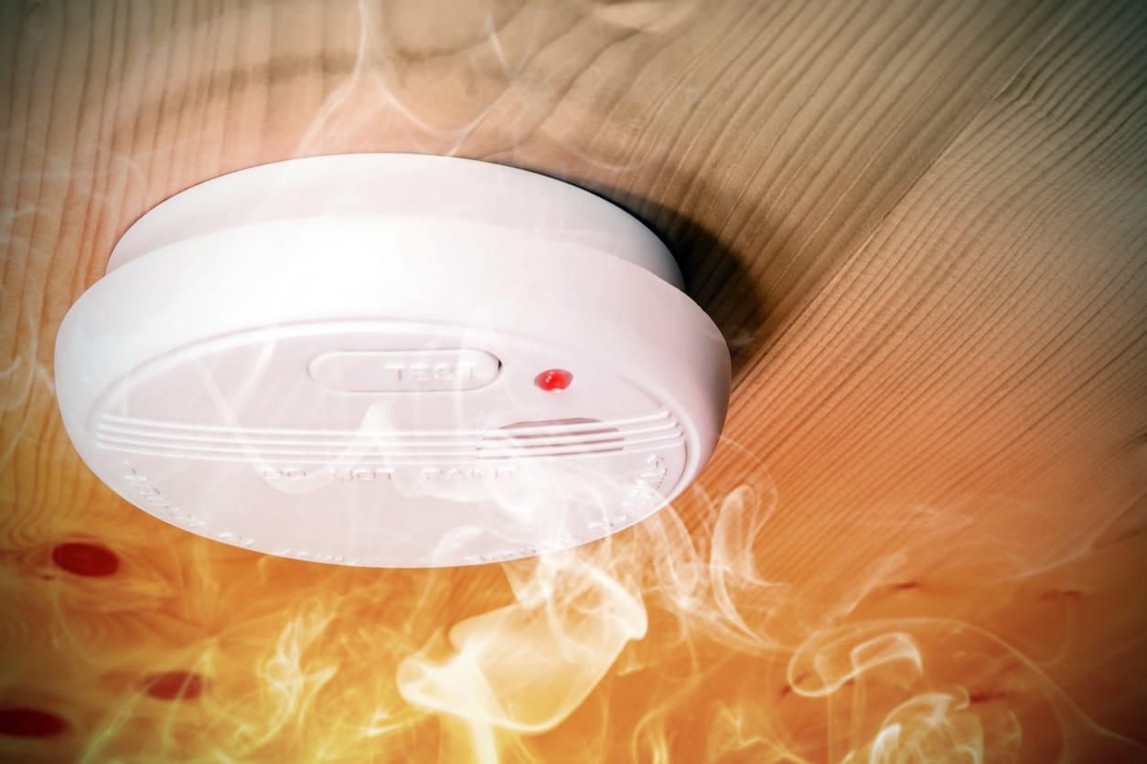 smoke detector with smoke swirling around