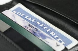 close up of a wallet with id cards.