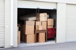 self storage unit with boxes
