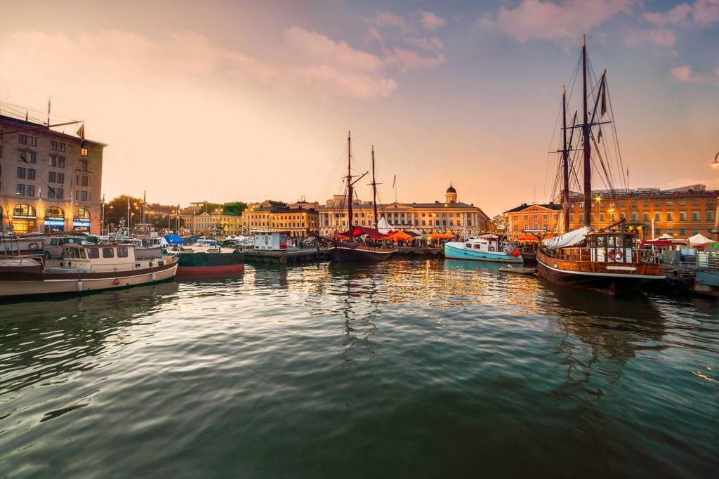 helsinki finland port at sunset