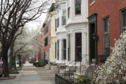 Historic row houses in Midtown of Baltimore, Maryland, USA