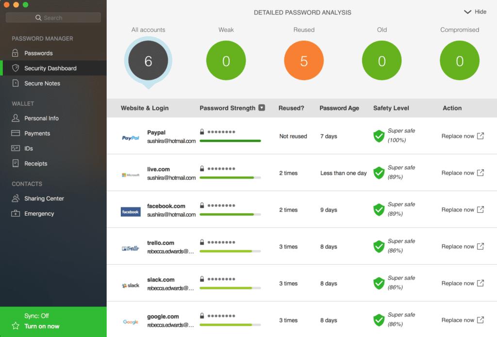 screenshot of dashlane dashboard