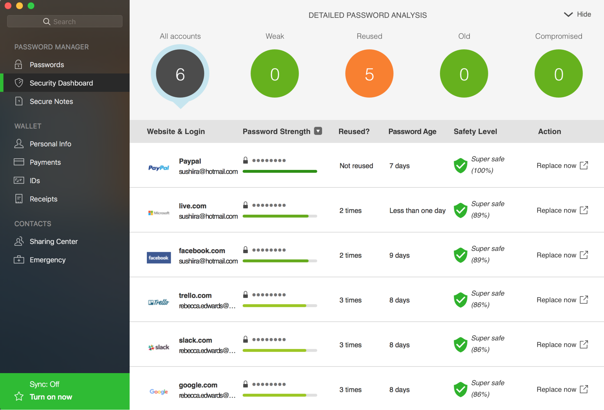 screenshot of dashlane dashboard