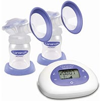 white and purple breast pump