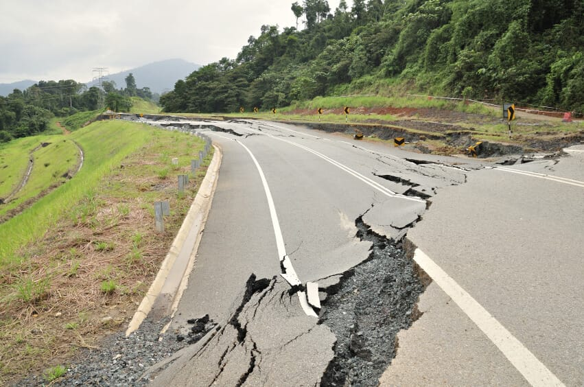 crack in road from earthquake