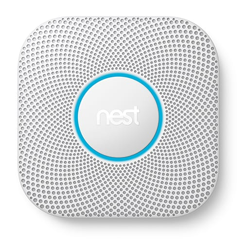 nest smoke alarm closeup with blue ring