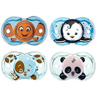 4 pacifiers with cartoon designs