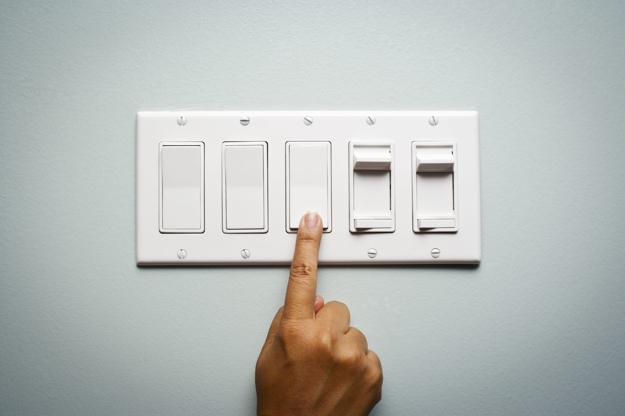turning on light switch panel