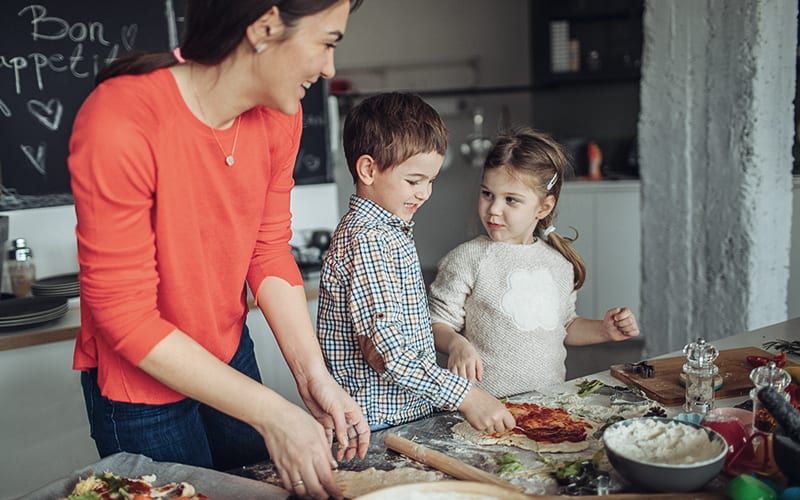 Kids in the kitchen with mom