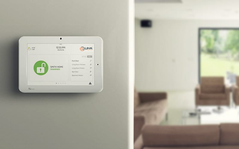photo of Link Interactive control panel on wall of home