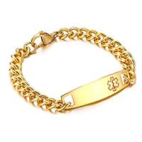 unisex medical alert chain bracelet