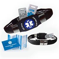 waterproof elite usb medical alert id bracelet